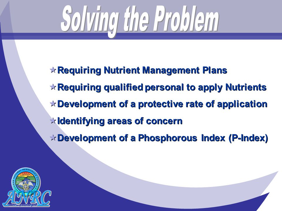  Requiring Nutrient Management Plans  Requiring qualified personal to apply Nutrients  Development of a protective rate of application  Identifying areas of concern  Development of a Phosphorous Index (P-Index)  Requiring Nutrient Management Plans  Requiring qualified personal to apply Nutrients  Development of a protective rate of application  Identifying areas of concern  Development of a Phosphorous Index (P-Index)