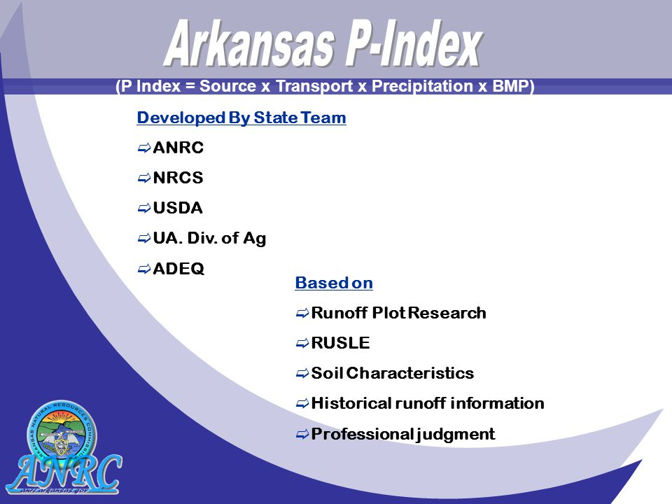 Developed By State Team  ANRC  NRCS  USDA  UA.