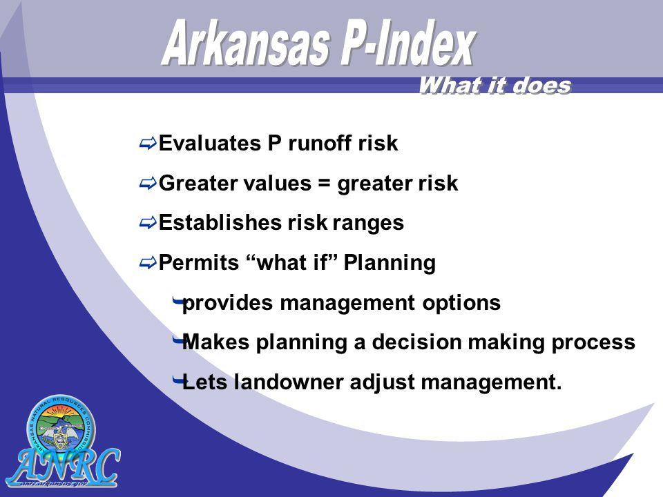  Evaluates P runoff risk  Greater values = greater risk  Establishes risk ranges  Permits what if Planning  provides management options  Makes planning a decision making process  Lets landowner adjust management.