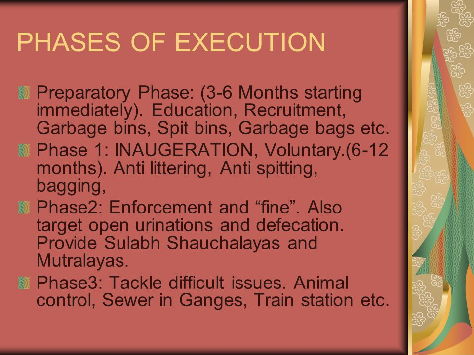PHASES OF EXECUTION Preparatory Phase: (3-6 Months starting immediately). Education, Recruitment, Garbage bins, Spit bins, Garbage bags etc. Phase 1: