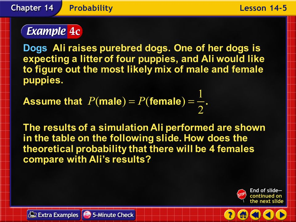 Example 5-4d There are 16 possible outcomes, and the number of combinations that have 4 female puppies is 4 C 4 or 1.