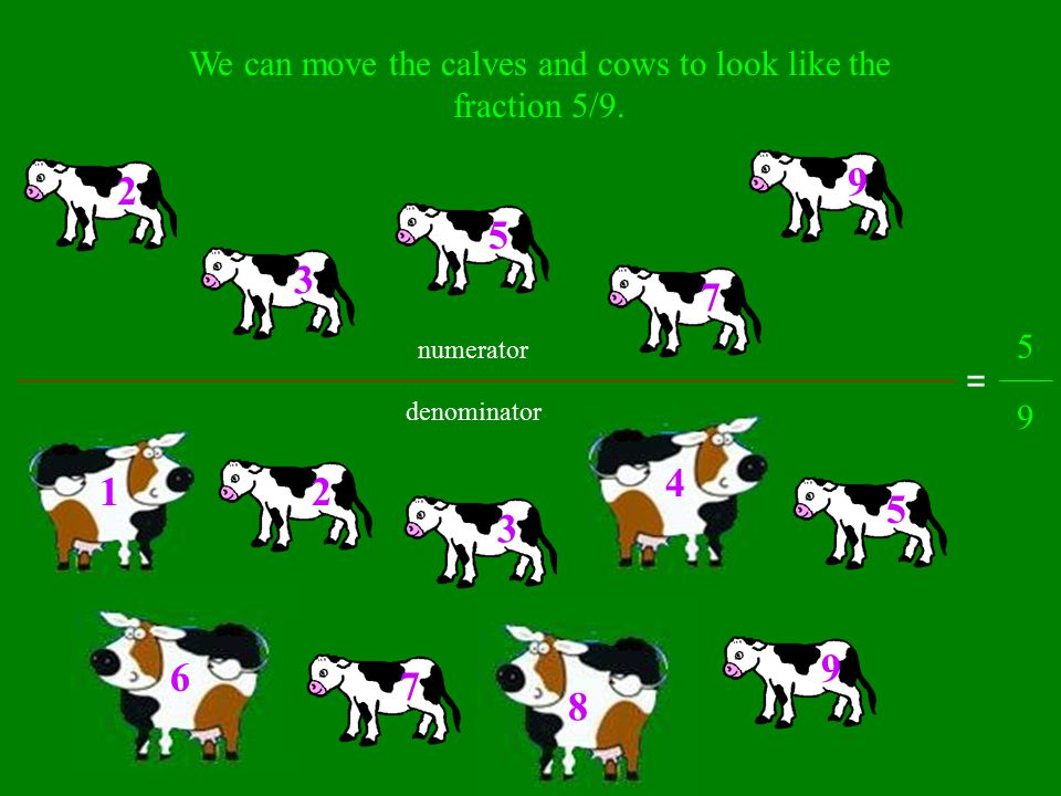 What fraction of the total nine are calves? 1 2 3 4 5 6 7 8 9 There are 9 cows and calves total. Out of the 9 total, 5 of them are calves. We write th