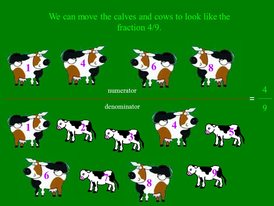 What fraction of the total nine are cows? 1 2 3 4 5 6 7 8 9 There are 9 cows and calves total. Out of the 9 total, 4 of them are cows. We write this f