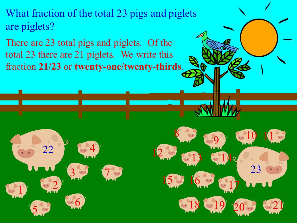 One pig gave birth to seven piglets and the other pig gave birth to fourteen piglets. 7 + 14 = 21 The total number of piglets equals 21. 1 2 5 1 3 4 6