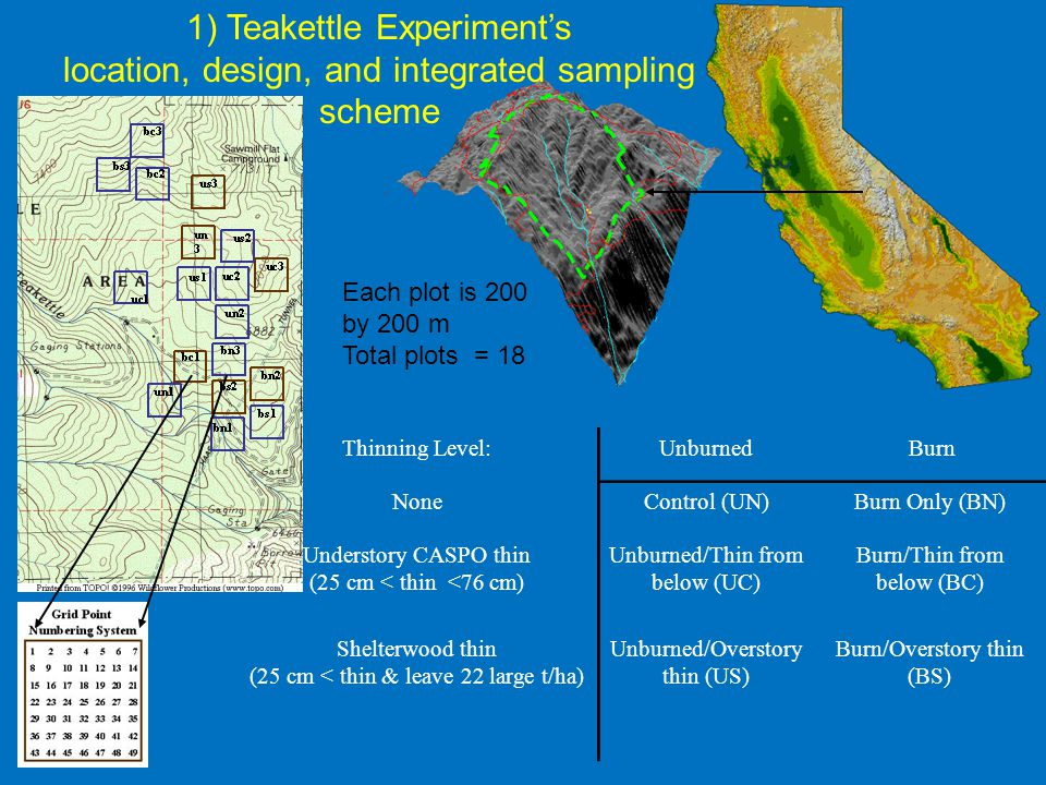 1) Teakettle Experiment's location, design, and integrated sampling scheme Each plot is 200 by 200 m Total plots = 18 Thinning Level:Unburned Burn Non