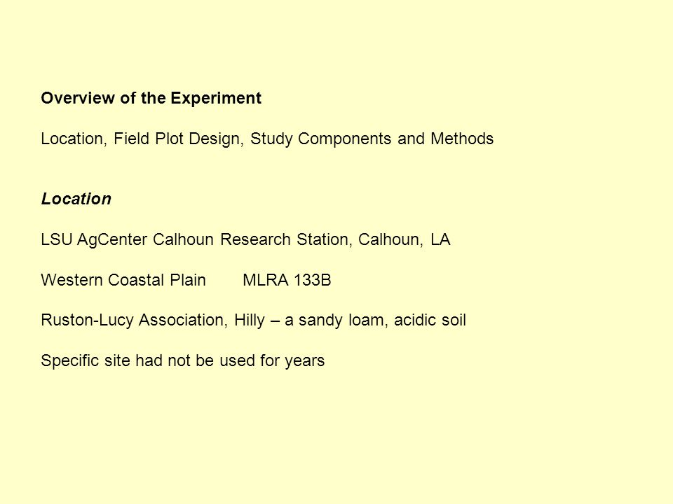 Overview of the Experiment Location, Field Plot Design, Study Components and Methods Location LSU AgCenter Calhoun Research Station, Calhoun, LA Western Coastal PlainMLRA 133B Ruston-Lucy Association, Hilly – a sandy loam, acidic soil Specific site had not be used for years