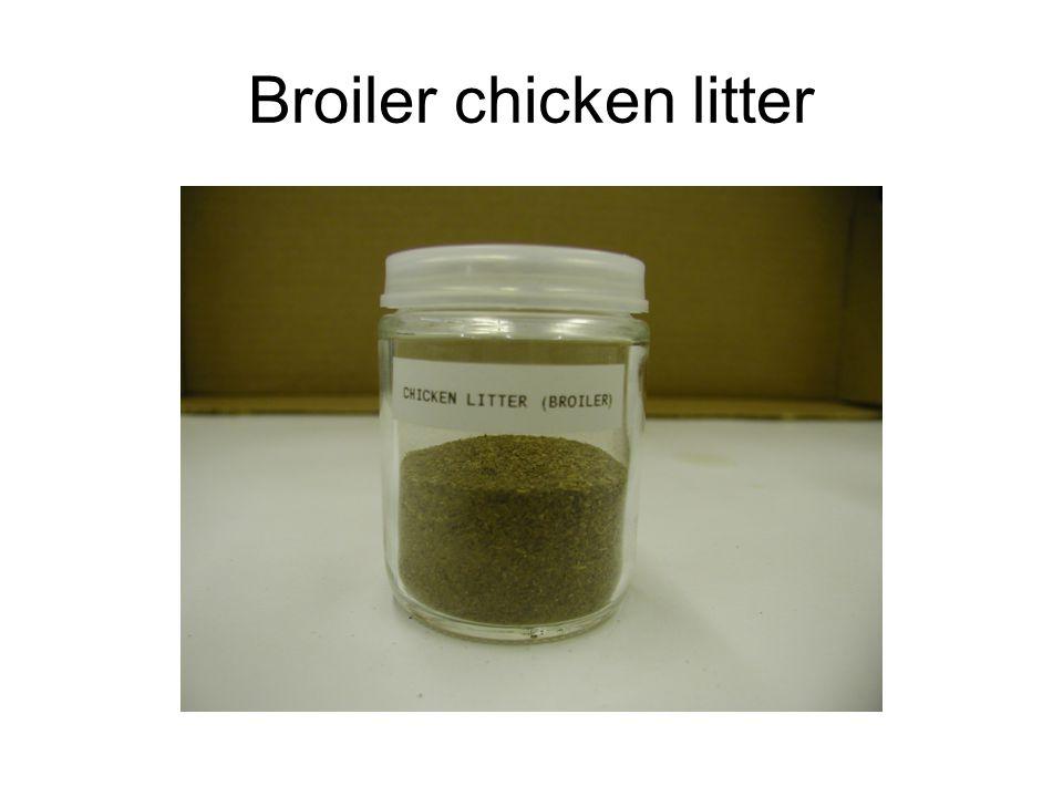 Feedstock analysis (dry basis) SampleC (%)H (%)N (%)S (%)Cl (%)Ash (%) HHV (MJ/kg) Chicken bedding 47.245.94<0.5<0.282 ppm 1.3619.25 Flock-1 litter 34.054.422.890.630.7415.3315.47 Flock-2 litter 36.845.003.941.021.1416.0515.65 Flock-3 litter 35.335.404.100.70n/a21.1714.37 Starter turkey litter 43.655.712.570.360.205.4218.47