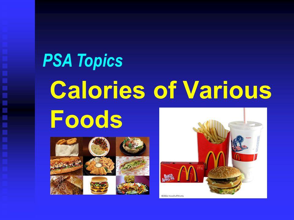 Calories of Various Foods PSA Topics