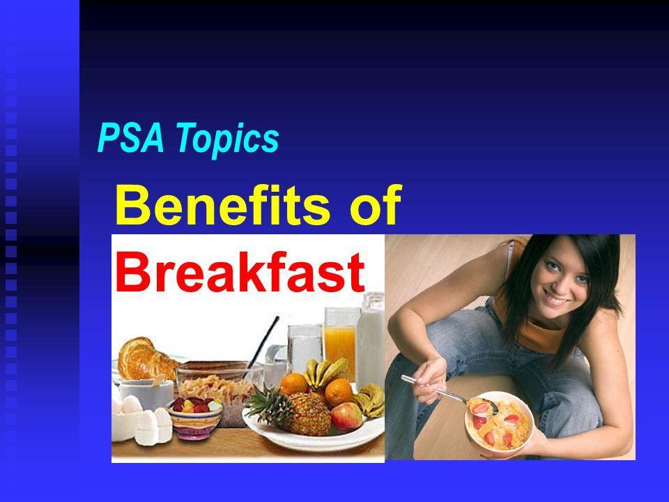 Benefits of Breakfast PSA Topics