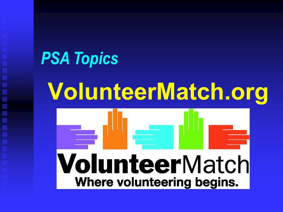 VolunteerMatch.org PSA Topics