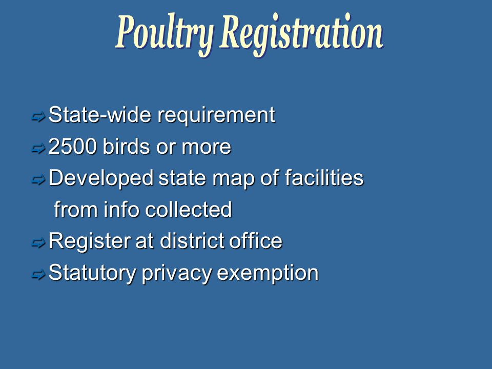  State-wide requirement  2500 birds or more  Developed state map of facilities from info collected from info collected  Register at district office  Statutory privacy exemption