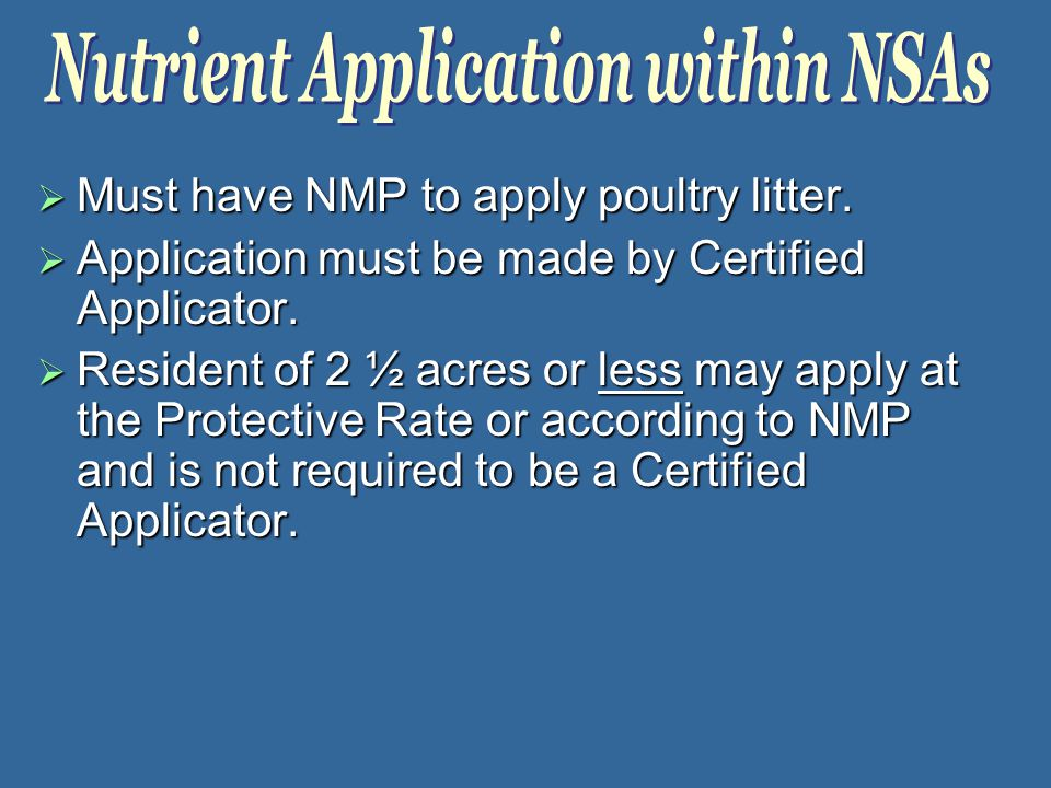  Must have NMP to apply poultry litter.  Application must be made by Certified Applicator.