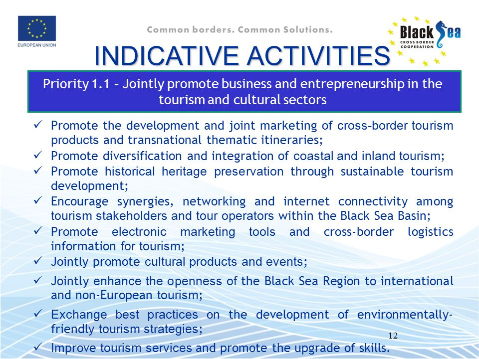 12 Priority 1.1 – Jointly promote business and entrepreneurship in the tourism and cultural sectors Promote the development and joint marketing of cro