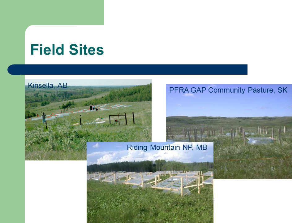 Field Sites Kinsella, AB PFRA GAP Community Pasture, SK Riding Mountain NP, MB
