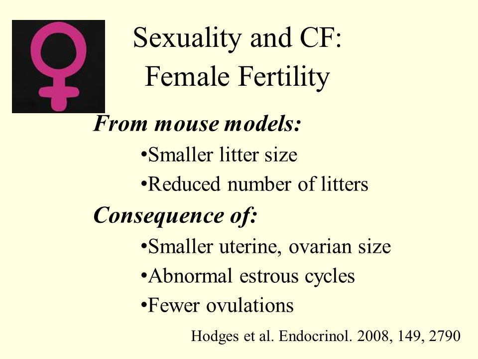 Sexuality and CF: Female Fertility From mouse models: Smaller litter size Reduced number of litters Consequence of: Smaller uterine, ovarian size Abno