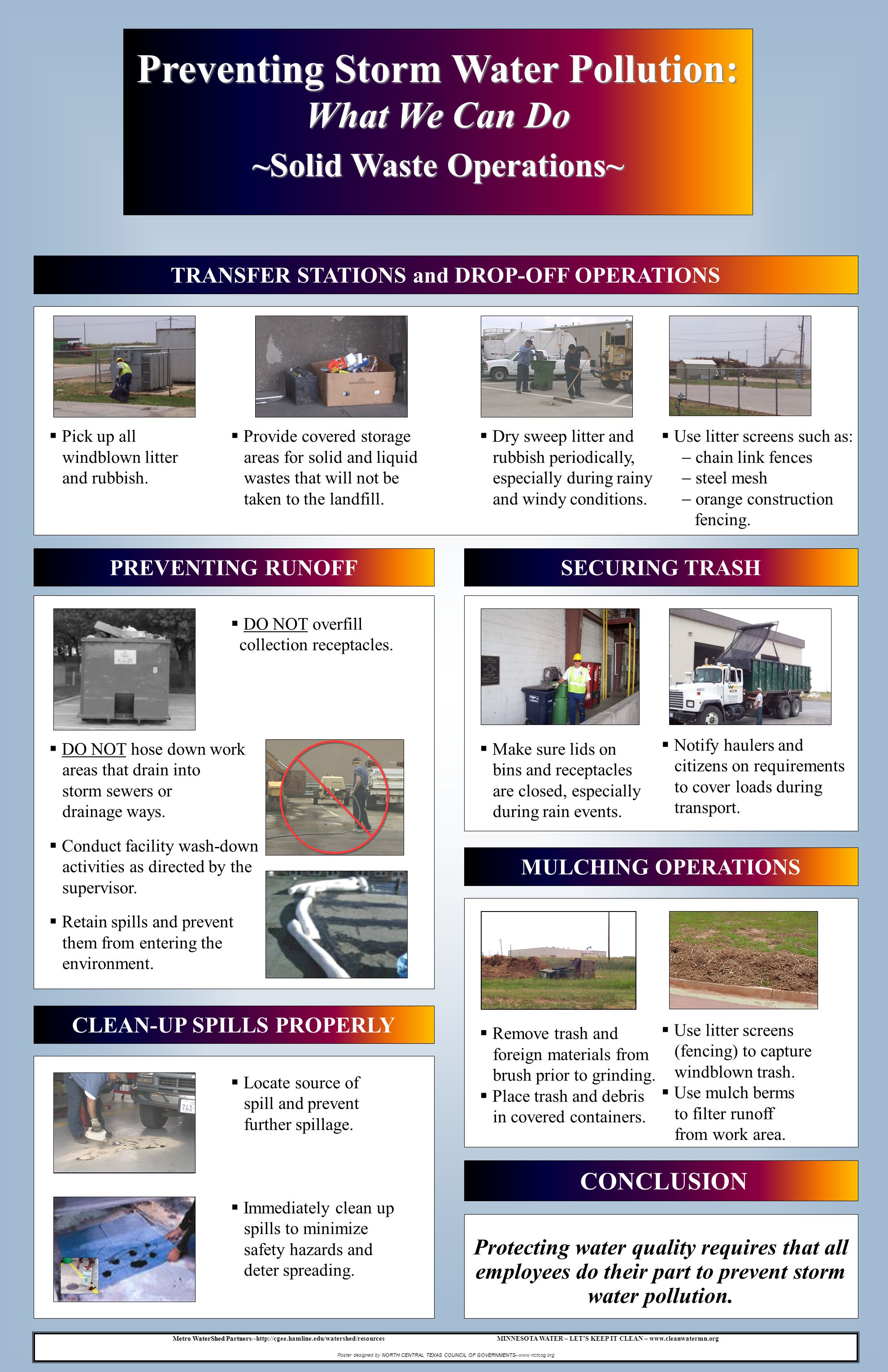 TRANSFER STATIONS and DROP-OFF OPERATIONS Protecting water quality requires that all employees do their part to prevent storm water pollution. CONCLUS