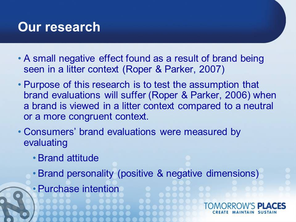 Our research A small negative effect found as a result of brand being seen in a litter context (Roper & Parker, 2007) Purpose of this research is to t