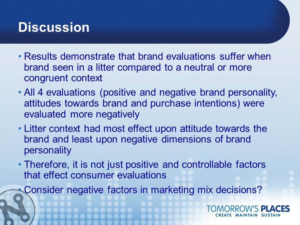 Discussion Results demonstrate that brand evaluations suffer when brand seen in a litter compared to a neutral or more congruent context All 4 evaluat