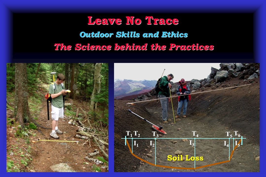 Leave No Trace Outdoor Skills and Ethics The Science behind the Practices T2T2T2T2 T3T3T3T3 T5T5T5T5 I2I2I2I2 I3I3I3I3 I4I4I4I4 I1I1I1I1 T4T4T4T4 I5I5I5I5 T1T1T1T1 T6T6T6T6 Soil Loss