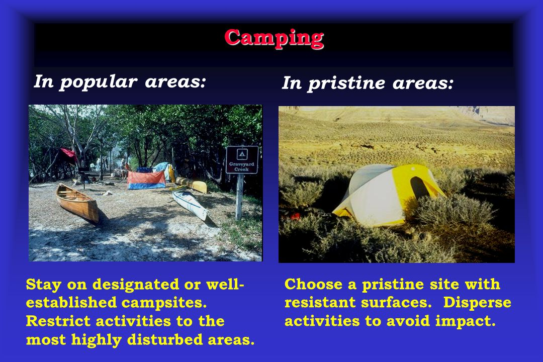 Camping Stay on designated or well- established campsites.