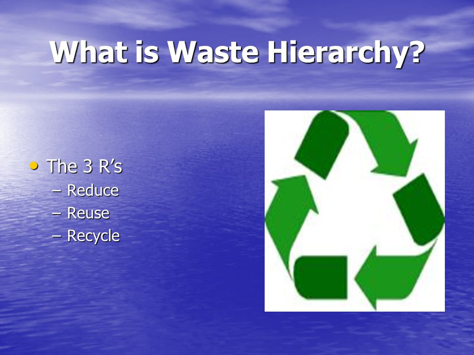 What is Waste Hierarchy The 3 R's The 3 R's –Reduce –Reuse –Recycle