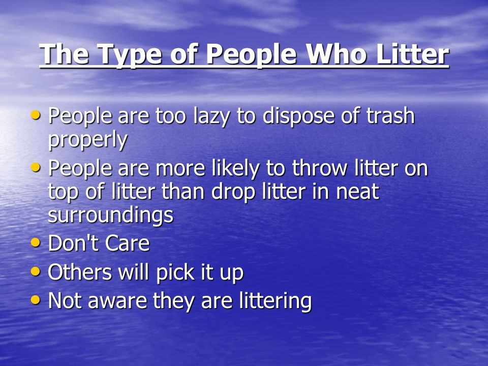 The Type of People Who Litter People are too lazy to dispose of trash properly People are too lazy to dispose of trash properly People are more likely to throw litter on top of litter than drop litter in neat surroundings People are more likely to throw litter on top of litter than drop litter in neat surroundings Don t Care Don t Care Others will pick it up Others will pick it up Not aware they are littering Not aware they are littering