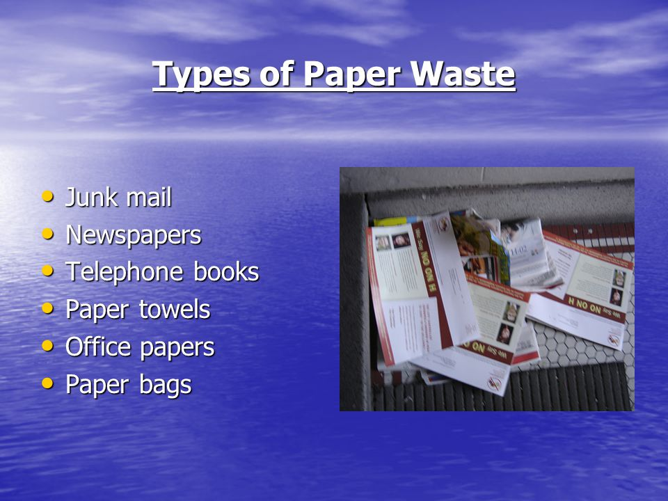 Types of Paper Waste Junk mail Junk mail Newspapers Newspapers Telephone books Telephone books Paper towels Paper towels Office papers Office papers Paper bags Paper bags