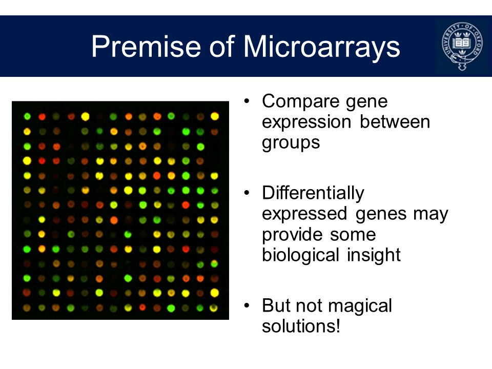 Typical Microarray Designs Disease vs control Good prognosis vs poor prognosis Different tumour types Effect of treatment Effect of stimulus Time course Different tissues/stages of development