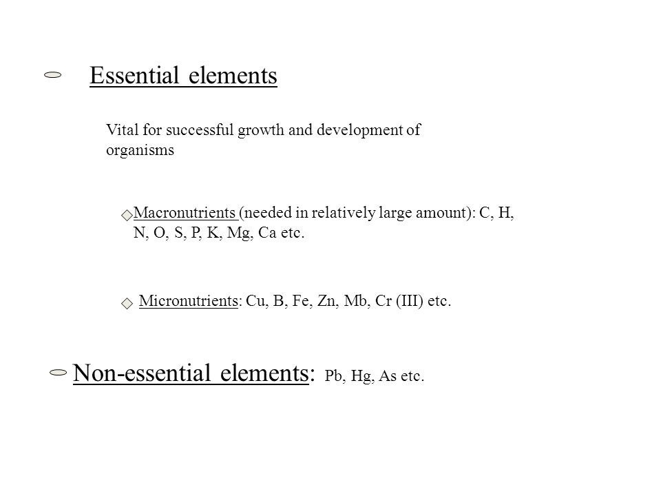 Essential elements Vital for successful growth and development of organisms Macronutrients (needed in relatively large amount): C, H, N, O, S, P, K, M
