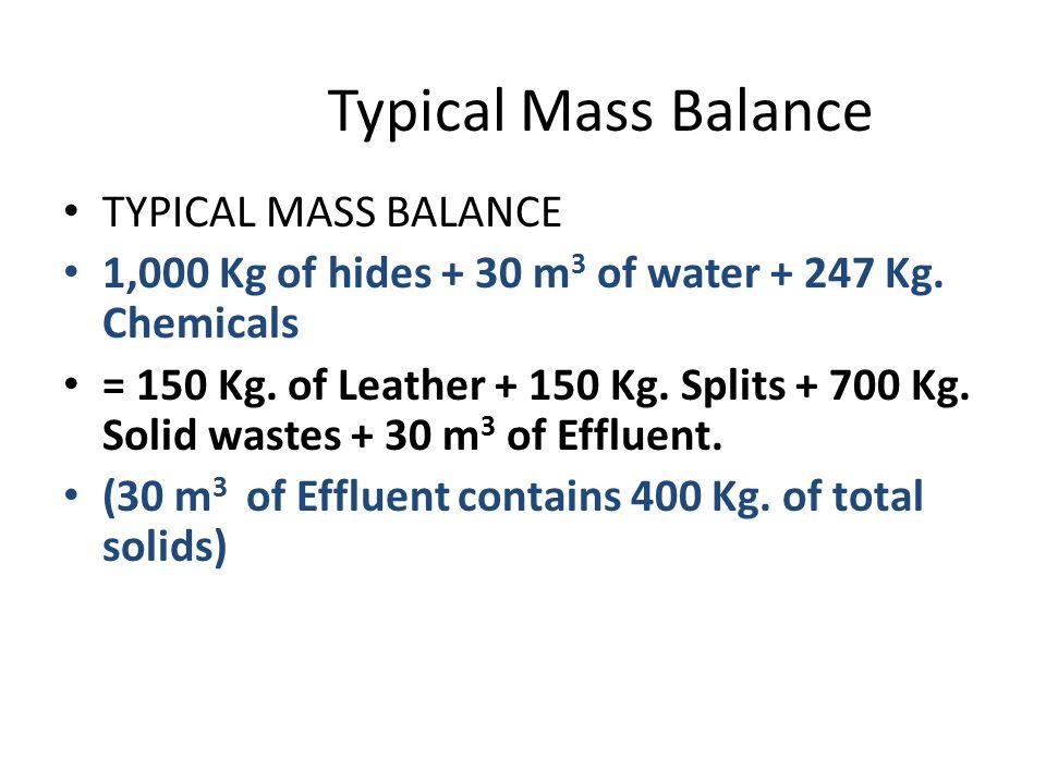 Typical Mass Balance TYPICAL MASS BALANCE 1,000 Kg of hides + 30 m 3 of water + 247 Kg.