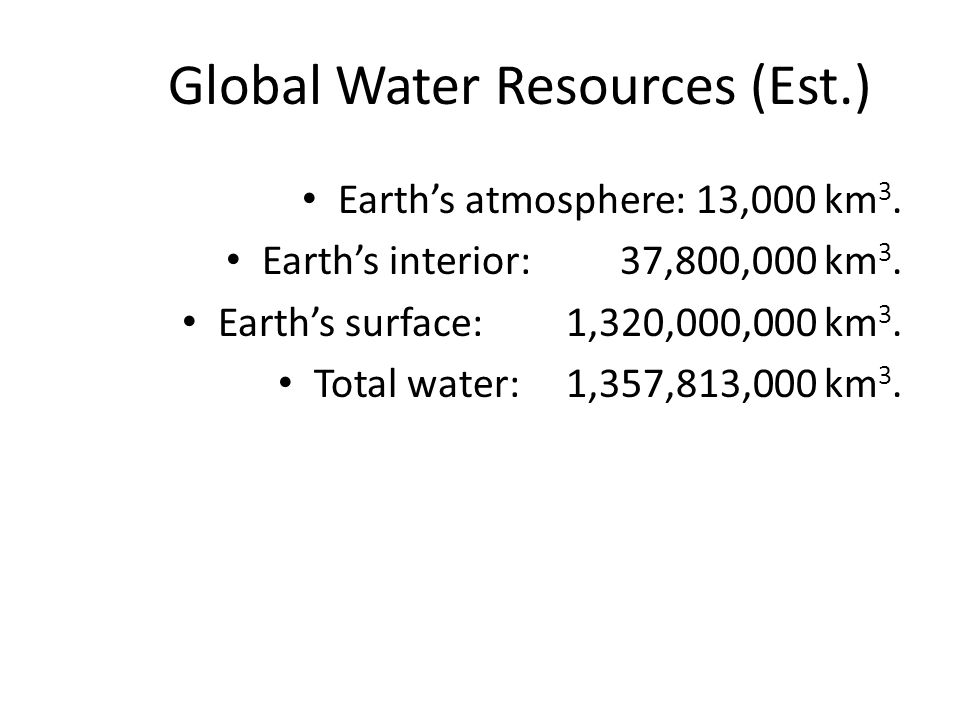Global Water Resources (Est.) Earth's atmosphere: 13,000 km 3. Earth's interior: 37,800,000 km 3. Earth's surface: 1,320,000,000 km 3. Total water:1,3