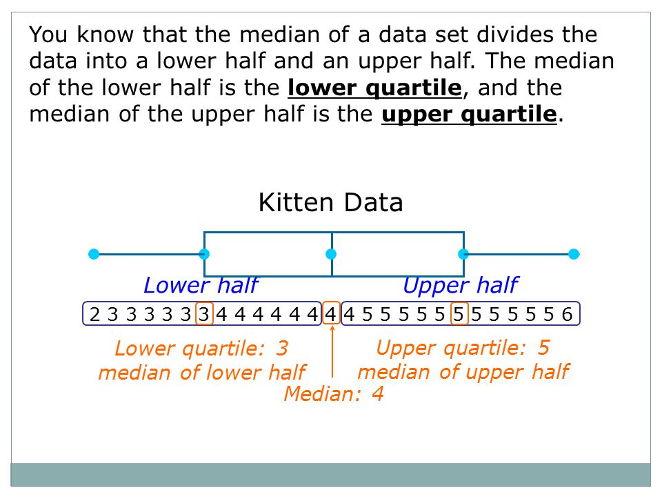 Kitten Data 2 3 3 3 3 3 3 4 4 4 4 4 4 4 4 5 5 5 5 5 5 5 5 5 5 5 6 Lower halfUpper half Lower quartile: 3 median of lower half Upper quartile: 5 median of upper half Median: 4 You know that the median of a data set divides the data into a lower half and an upper half.
