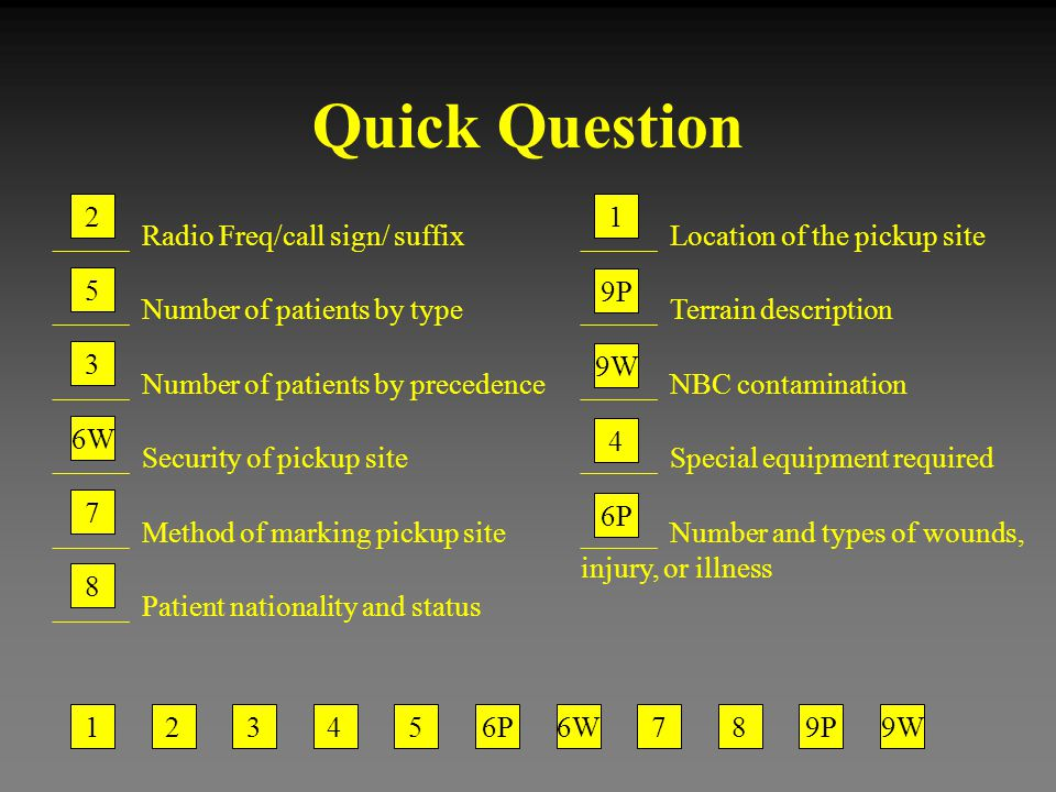 Quick Question _____ Radio Freq/call sign/ suffix _____ Number of patients by type _____ Number of patients by precedence _____ Security of pickup sit