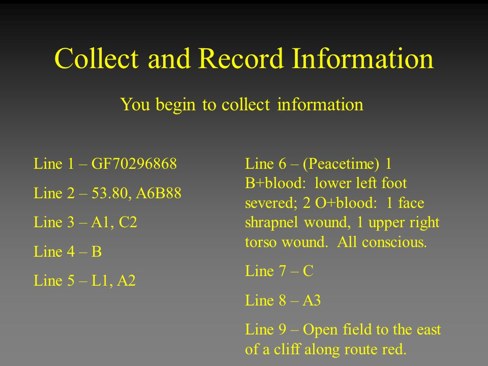Collect and Record Information You begin to collect information Line 1 – GF70296868 Line 2 – 53.80, A6B88 Line 3 – A1, C2 Line 4 – B Line 5 – L1, A2 L