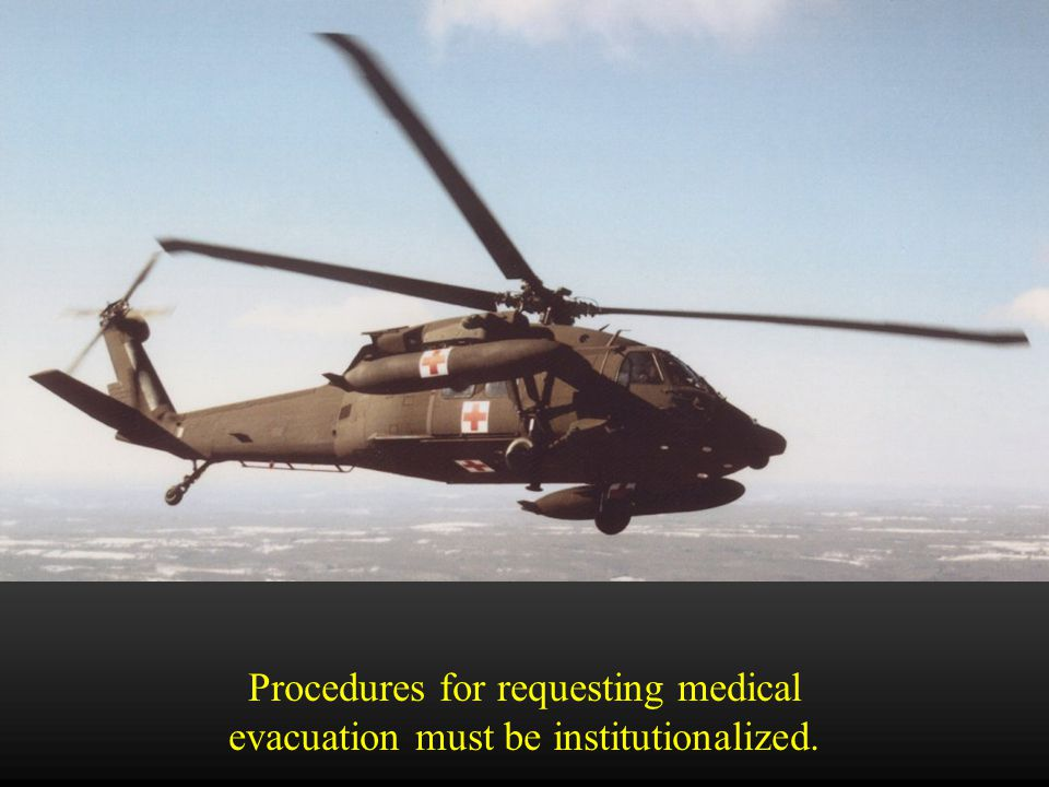 9 Line MEDEVAC Request  Determined by the senior service member.
