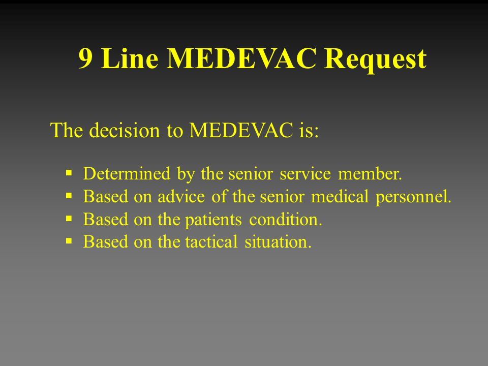 9 Line MEDEVAC Request 1.Grid Location of the Pick Up site.