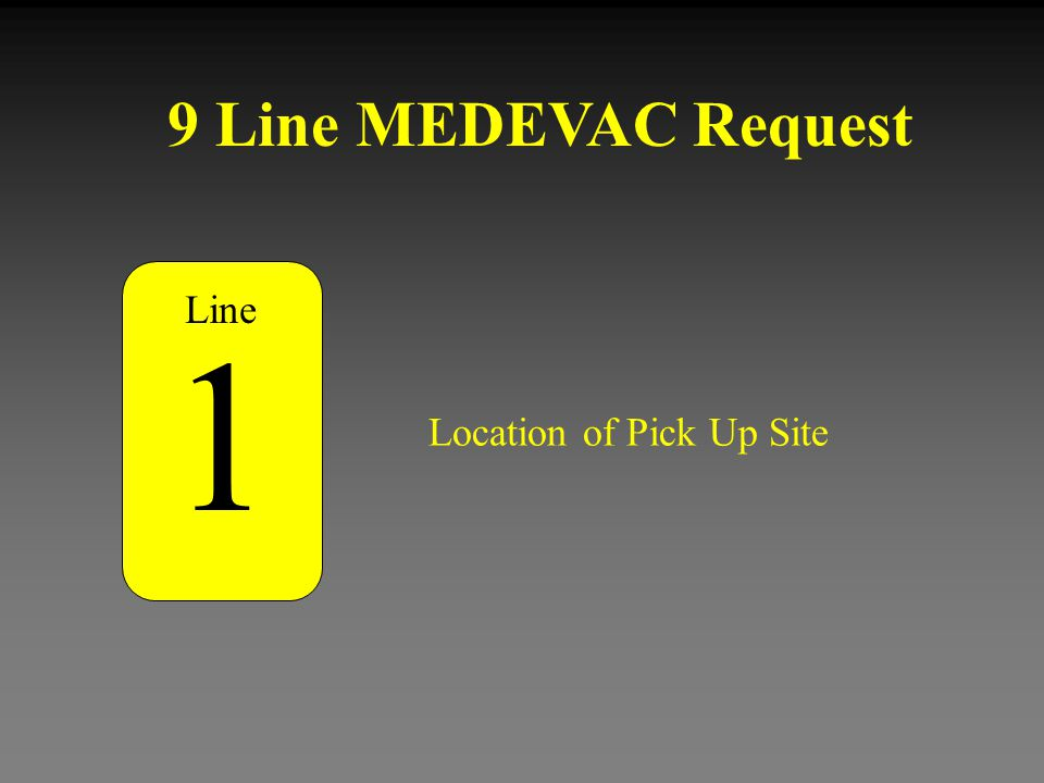 9 Line MEDEVAC Request Number of Patients by Type 5 L - (Litter) Plus the number of patients A - (Ambulatory) Plus the number of patients Line Utilize proper brevity codes.