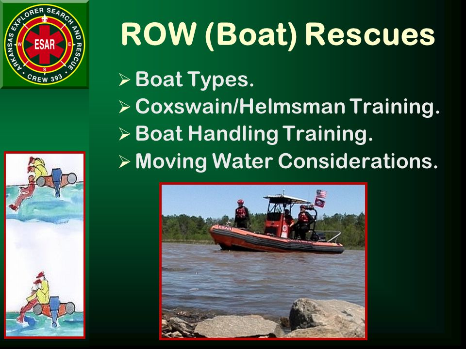 ROW (Boat) Rescues  Boat Types.  Coxswain/Helmsman Training.