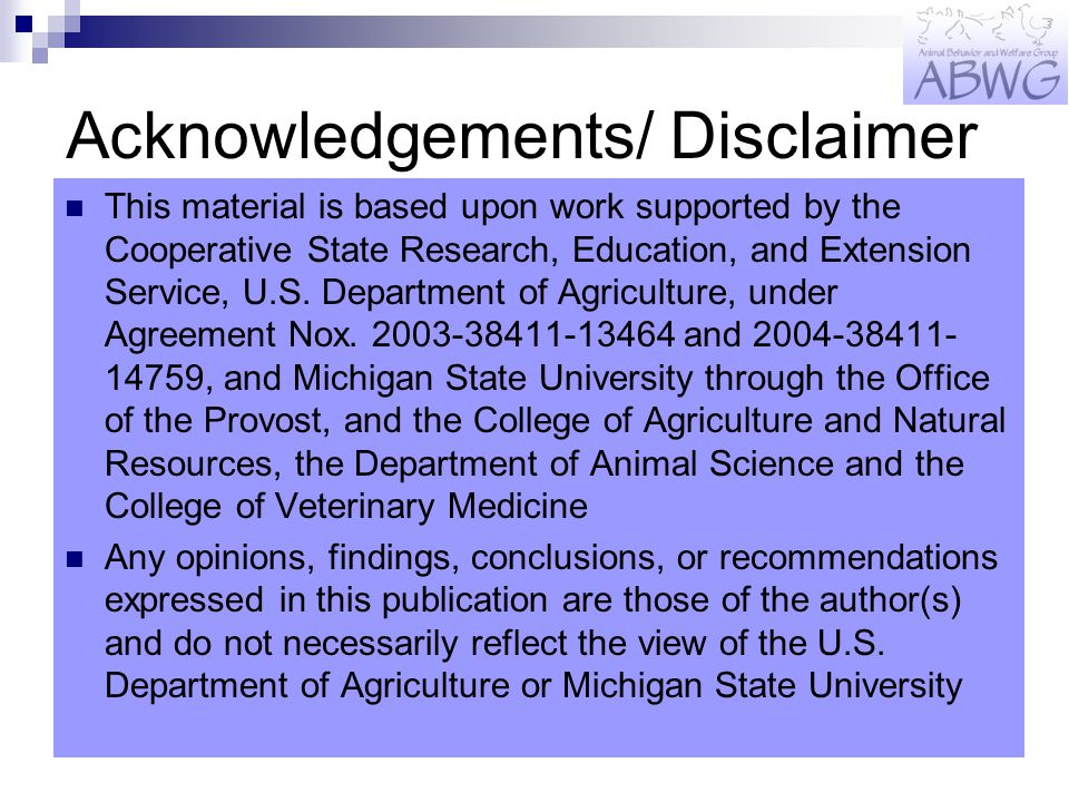 Acknowledgements/ Disclaimer This material is based upon work supported by the Cooperative State Research, Education, and Extension Service, U.S.