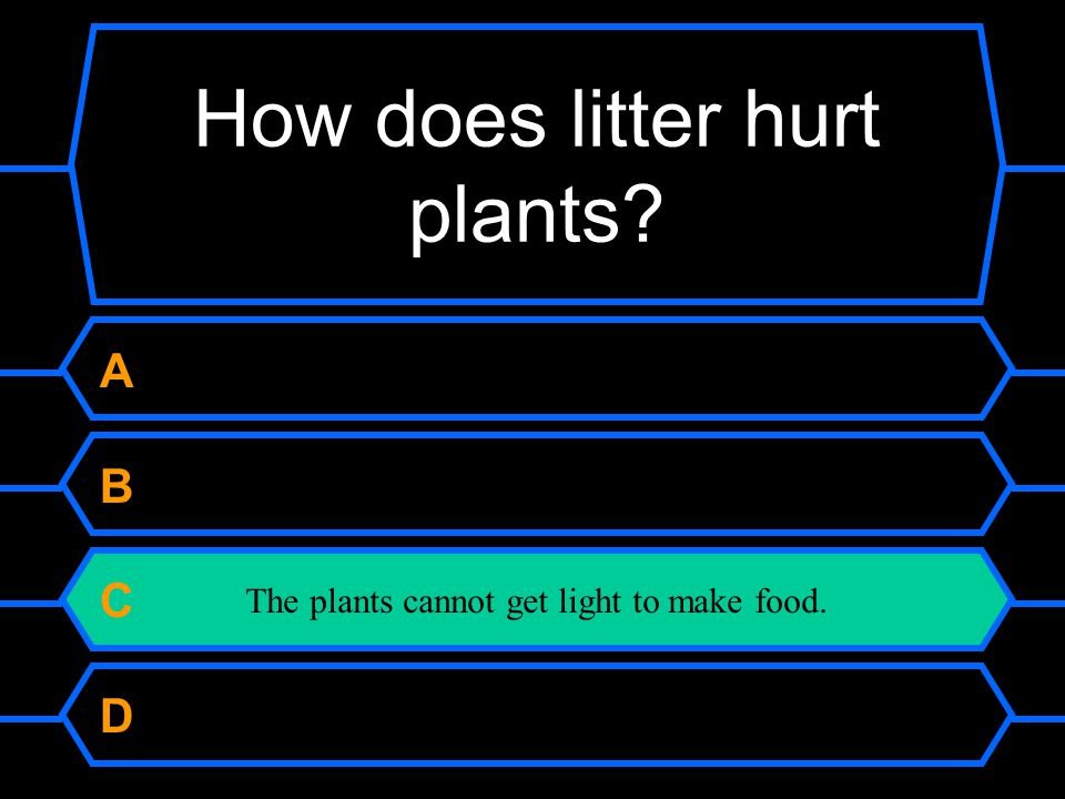 67 77 87 97 How does litter hurt plants. A The litter makes plants dirty.