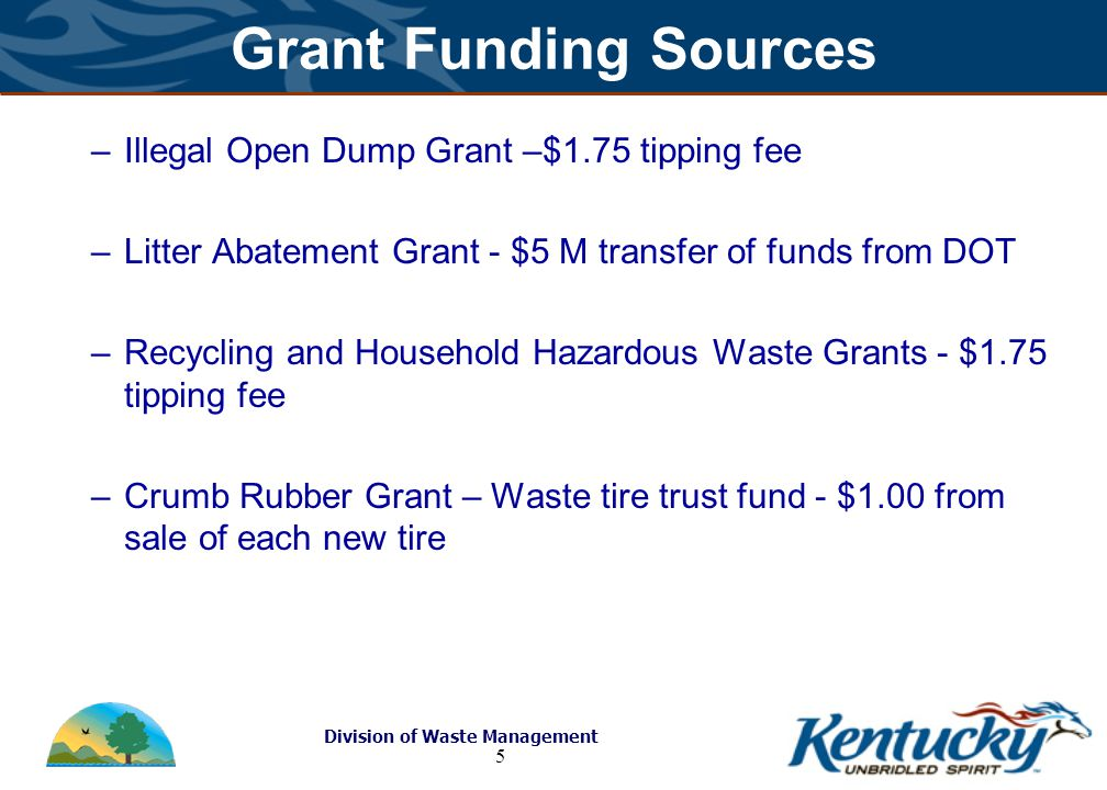 Division of Waste Management 5 Grant Funding Sources –Illegal Open Dump Grant –$1.75 tipping fee –Litter Abatement Grant - $5 M transfer of funds from DOT –Recycling and Household Hazardous Waste Grants - $1.75 tipping fee –Crumb Rubber Grant – Waste tire trust fund - $1.00 from sale of each new tire