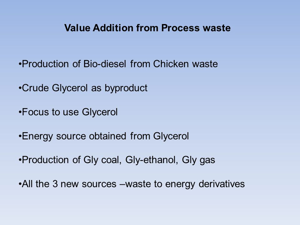 Value Addition from Process waste Production of Bio-diesel from Chicken waste Crude Glycerol as byproduct Focus to use Glycerol Energy source obtained from Glycerol Production of Gly coal, Gly-ethanol, Gly gas All the 3 new sources –waste to energy derivatives