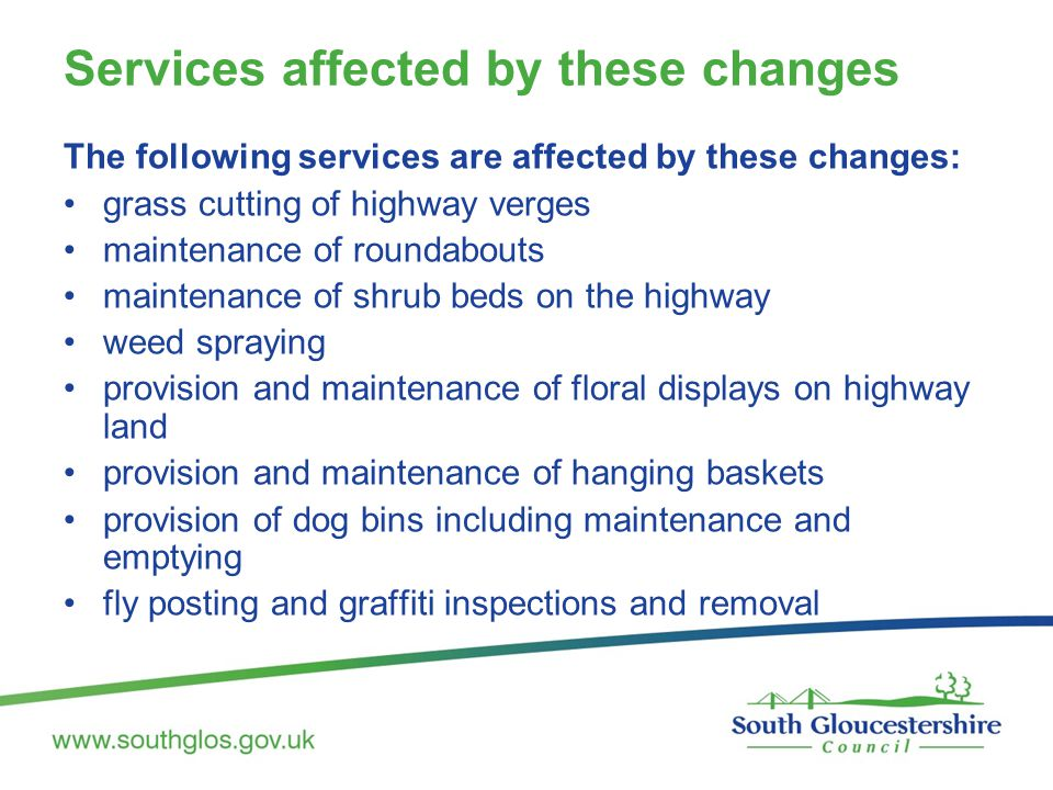 Services affected by these changes The following services are affected by these changes: grass cutting of highway verges maintenance of roundabouts maintenance of shrub beds on the highway weed spraying provision and maintenance of floral displays on highway land provision and maintenance of hanging baskets provision of dog bins including maintenance and emptying fly posting and graffiti inspections and removal