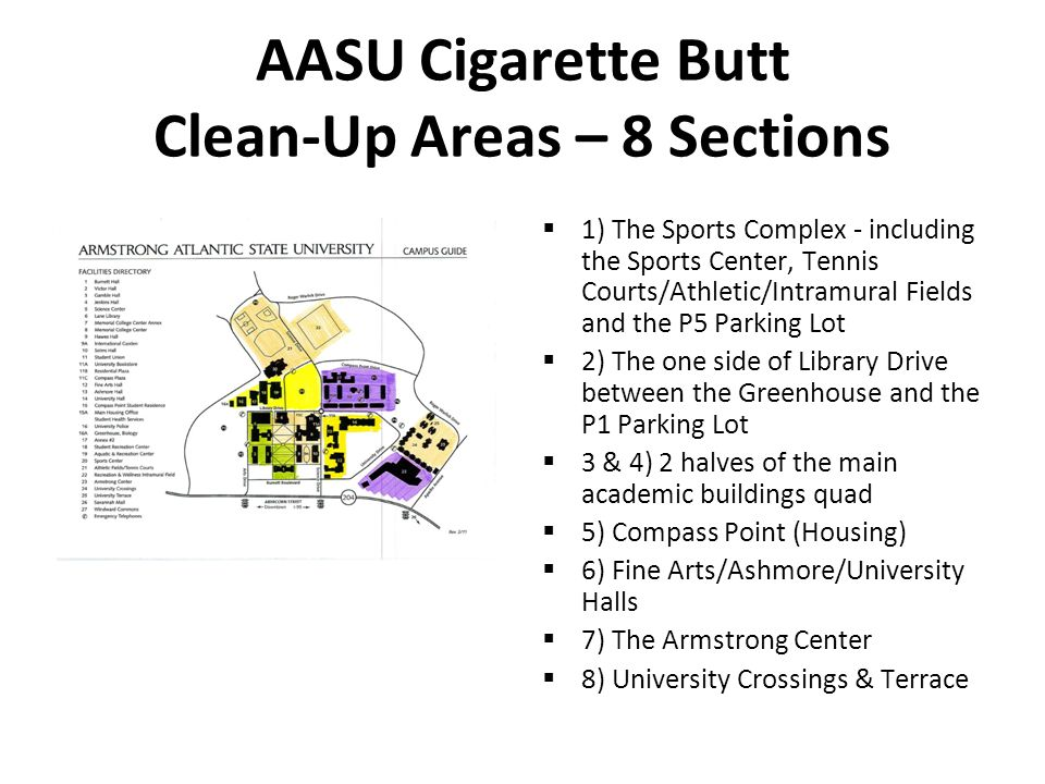 AASU Cigarette Butt Clean-Up Areas – 8 Sections  1) The Sports Complex - including the Sports Center, Tennis Courts/Athletic/Intramural Fields and th