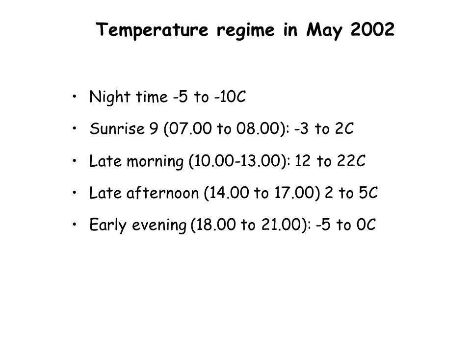 Temperature regime in May 2002 Night time -5 to -10C Sunrise 9 (07.00 to 08.00): -3 to 2C Late morning (10.00-13.00): 12 to 22C Late afternoon (14.00