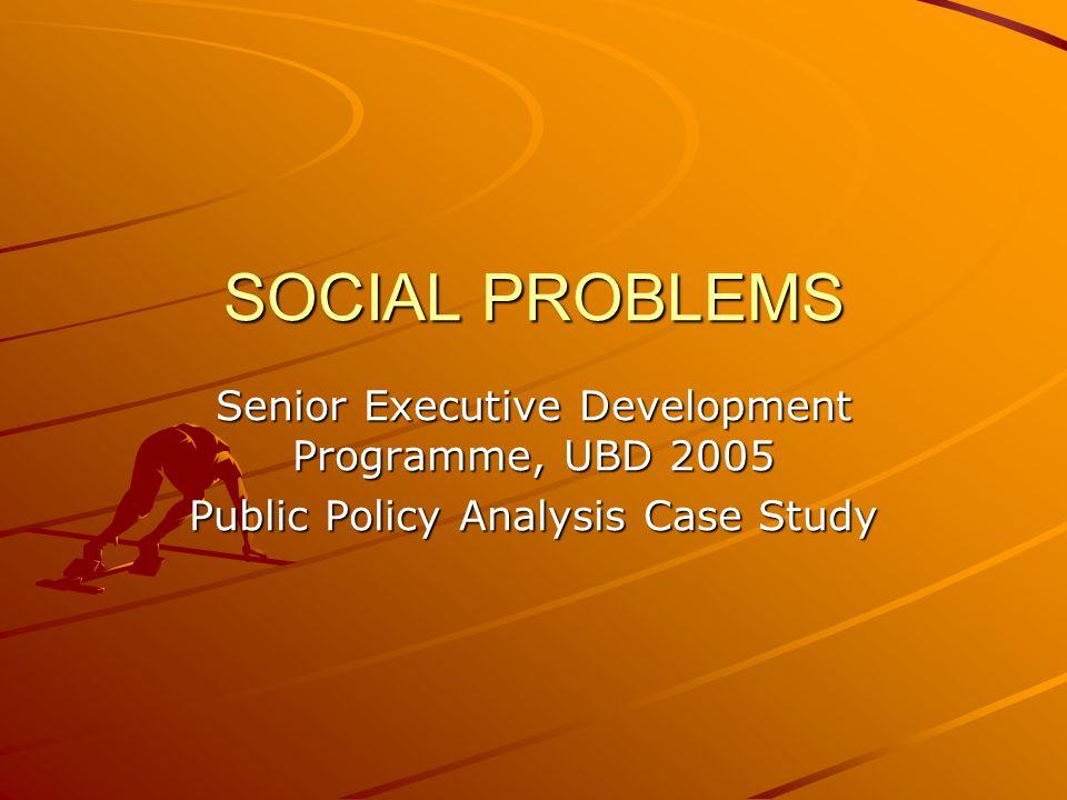 SOCIAL PROBLEMS Senior Executive Development Programme, UBD 2005 Public Policy Analysis Case Study