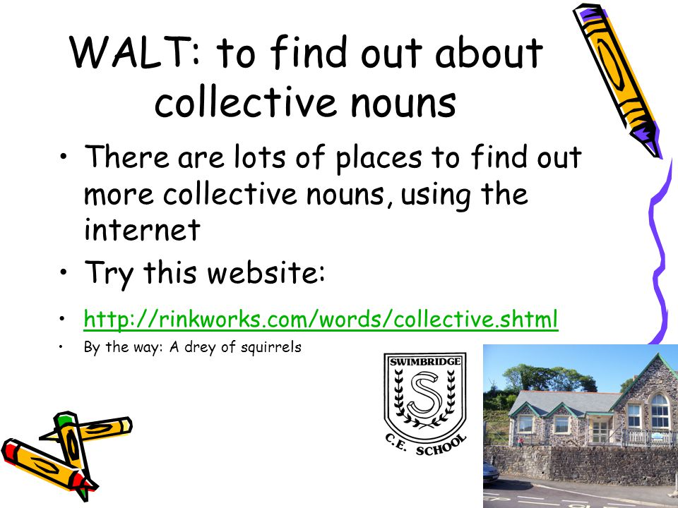 WALT: to find out about collective nouns There are lots of places to find out more collective nouns, using the internet Try this website: http://rinkworks.com/words/collective.shtml By the way: A drey of squirrels