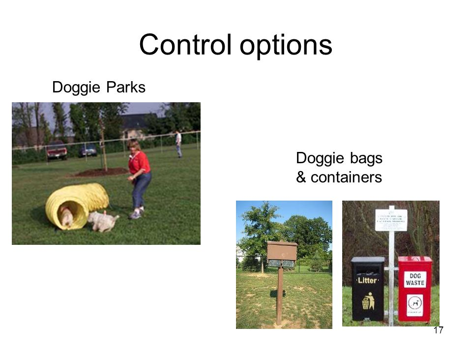 17 Control options Doggie bags & containers Doggie Parks