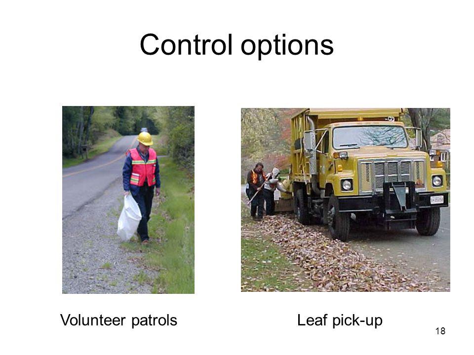 18 Control options Volunteer patrolsLeaf pick-up