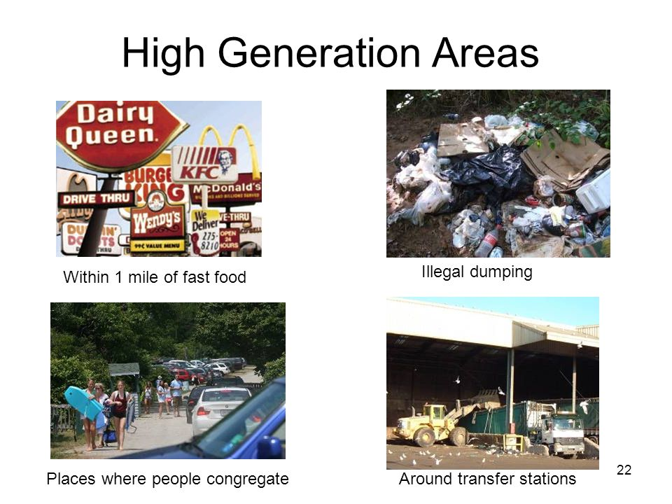 22 High Generation Areas Within 1 mile of fast food Illegal dumping Places where people congregateAround transfer stations